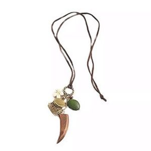 Jewelry - Wood horn charm necklace
